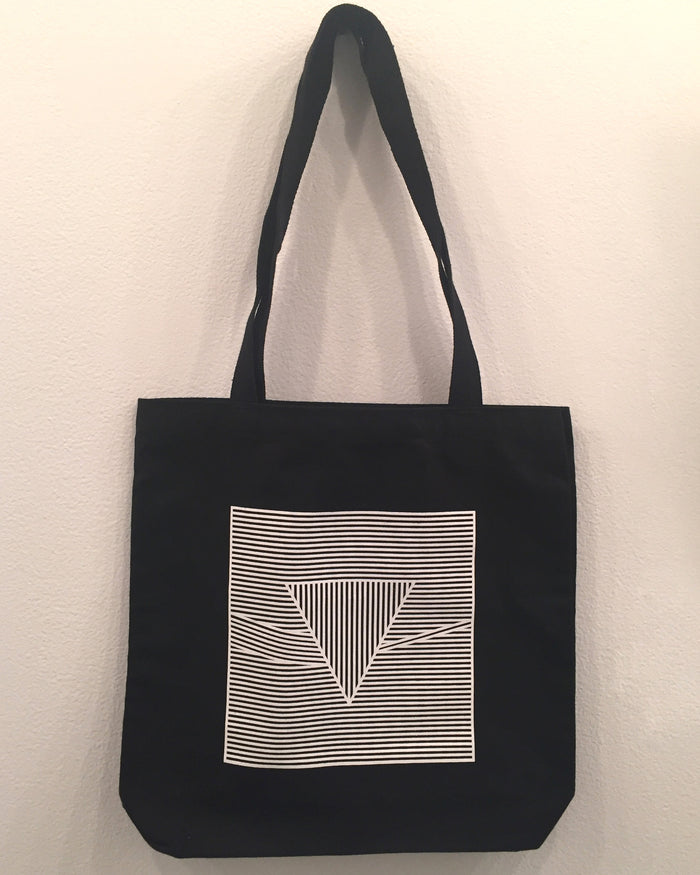 Dark Side of Sol Lewitt tote bag Single color screenprint linen bag inspired by Sol Lewitt and Pink Floyd's Dark Side of the Moon tote bag apparel wearable music bands triangles Kayrock screenprinting