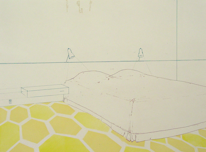Fugitive Parameter (Structural Syntax) Amze Emmons Intaglio the print center bed bedroom sheets floor carpet old designs