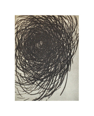 Meditations on a Black Stone Etching Janet Towbin the print center black and white abstraction swirling lines black hole Philadelphia