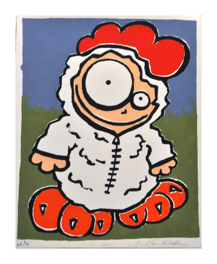 Chicken Marlise Tkaczuk silkscreen the print center boy in costume cartoon made in philadelphia