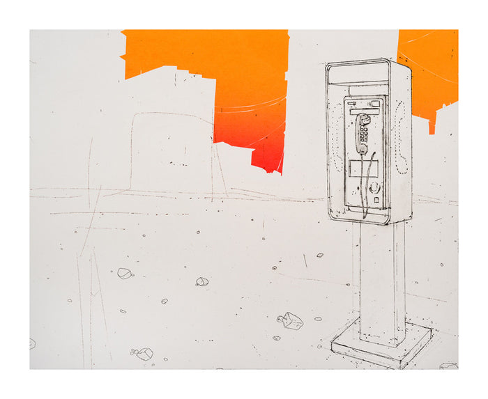 Compliance Tool Amze Emmons Silkscreen telephone booth orange screen print the print center philadelphia artist