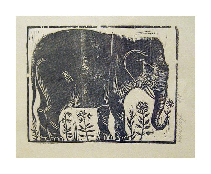 Elephant Helen Seigl for kids the print center woodcut flowers