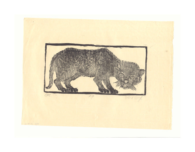Cat #3 Helen Siegel Woodcut The Print Center cat in a box