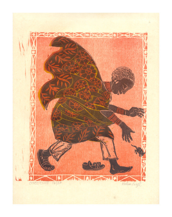 Conscience Helen Seigl Woodcut chasing an animal the print center pink woodcut