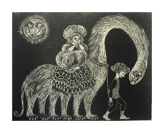 Exodus Helen Siegl Woodcut fantasy for kids make believe creatures sun people journey magical the print center