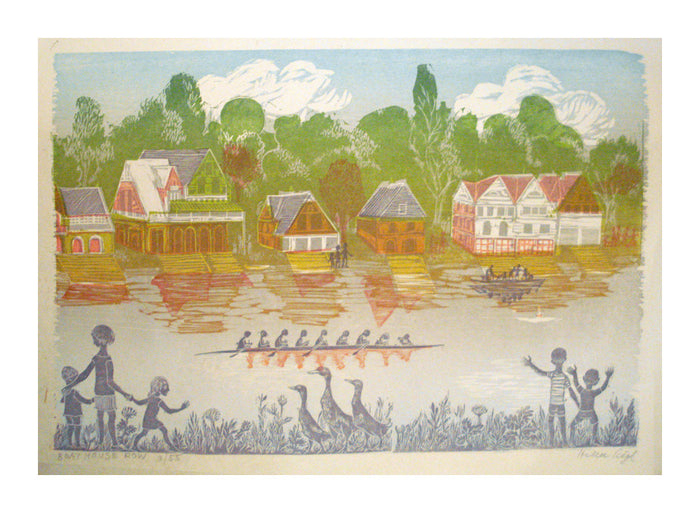 Boathouse Row Helen Siegl Woodcut River people houses rowboats The Print Center Landscapes