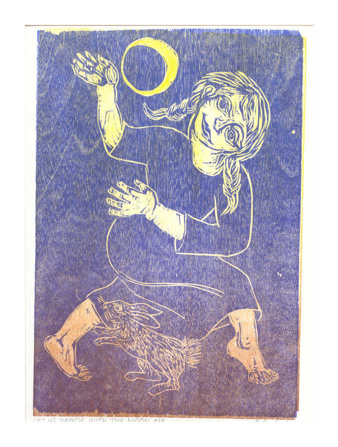 Let Us Dance with the Moon Woodcut Helen Siegl moon sky nighttime girl illustration the print center