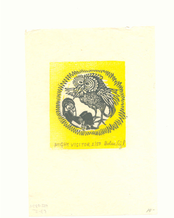Night Visitor helen siegl woodcut for kids yellow owl circle children's illustration