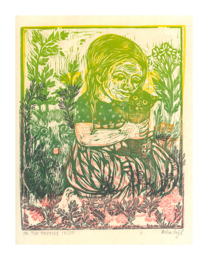 In the Poppies Helen Siegl Woodcut Relief childrens illustrations flowers child girl in garden gradient