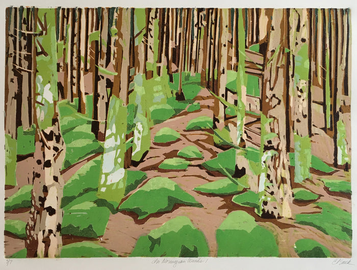 Norwegian Woods 1 cynthia back trees woods the print center woodcut