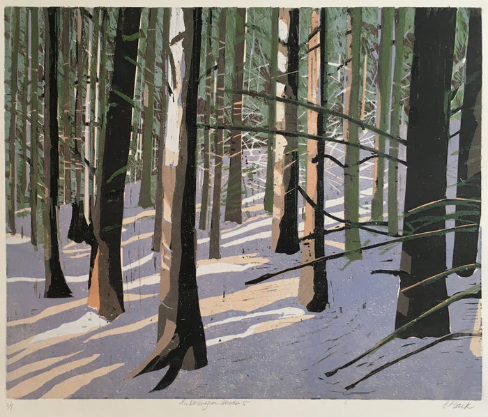 Norwegian Woods 5 wodcut cynthia back the print center light coming through the trees