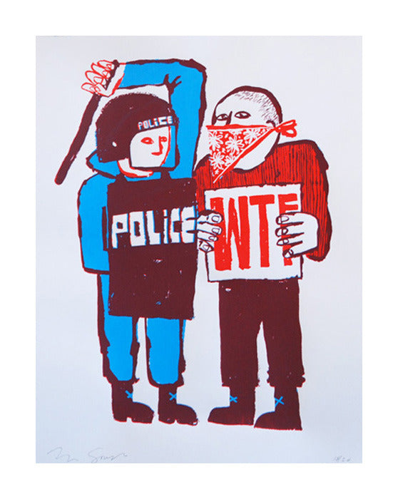 Police! WTF! Tim Gogh police brutality silkscreen made in philadelphia the print center illustration protest