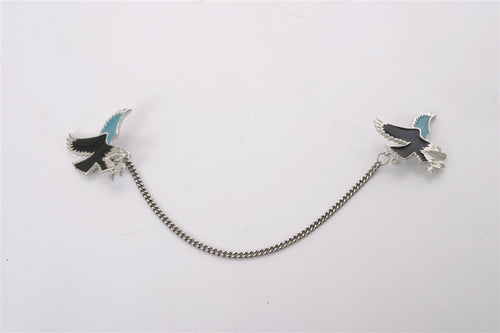 Silver Colored Eagle Vest Chain with Teal and Black Accents - Used-Harley-Davidson-Parts