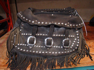 Leather Softail Saddlebags with Fringe - Used-Harley-Davidson-Parts