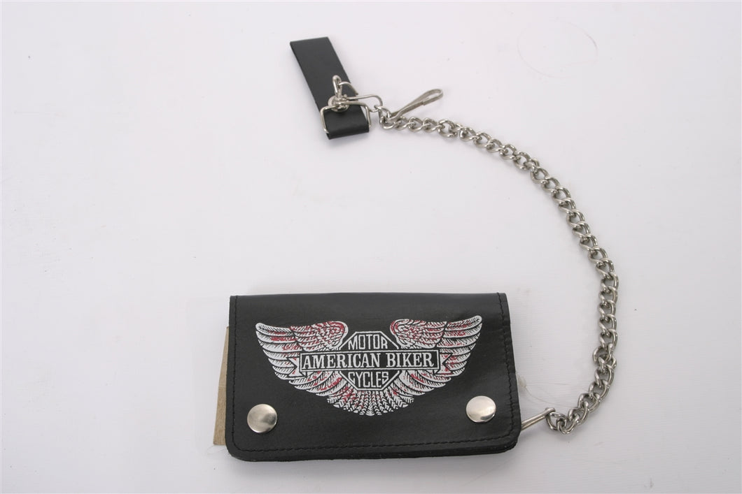 Tucker Rocky American Biker Real Black Leather Wallet with Chain - Used-Harley-Davidson-Parts