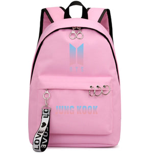 BTS New Logo Large Capacity Backpack / School Bag with Silver Rings in 2 Colours  583071224455#3925845045028