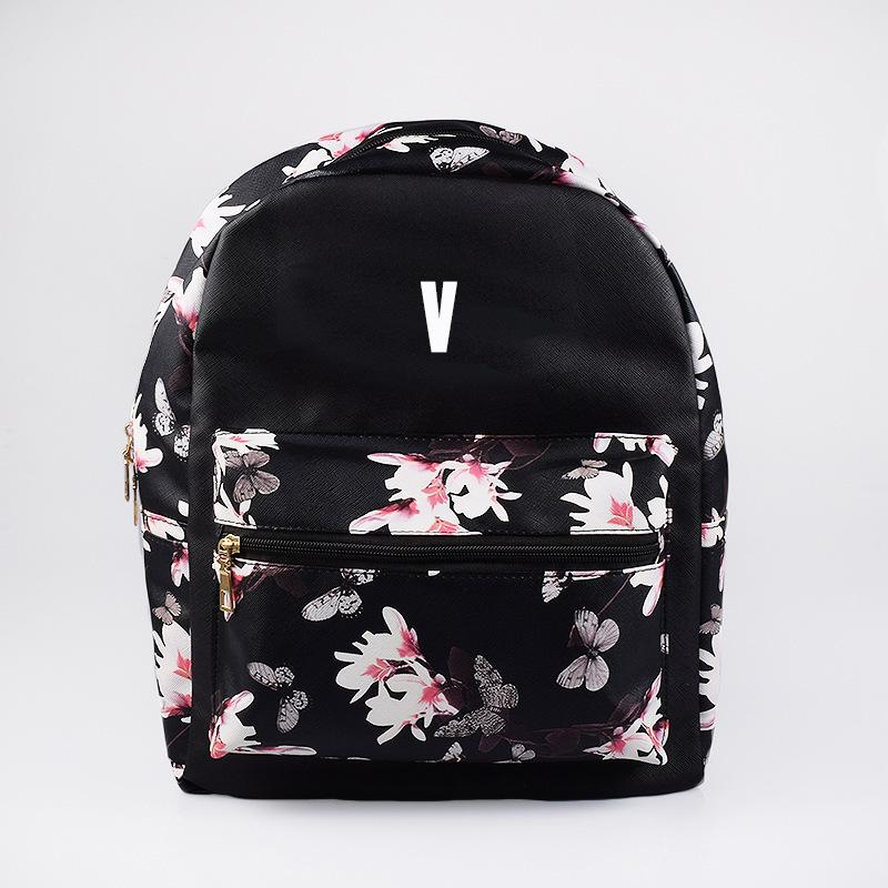 BTS Korean Style Floral Design Student Backpack / School Bag  575843425328#3785823341078