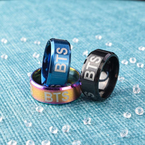 BTS Black / Blue / Colourful Alloy Ring