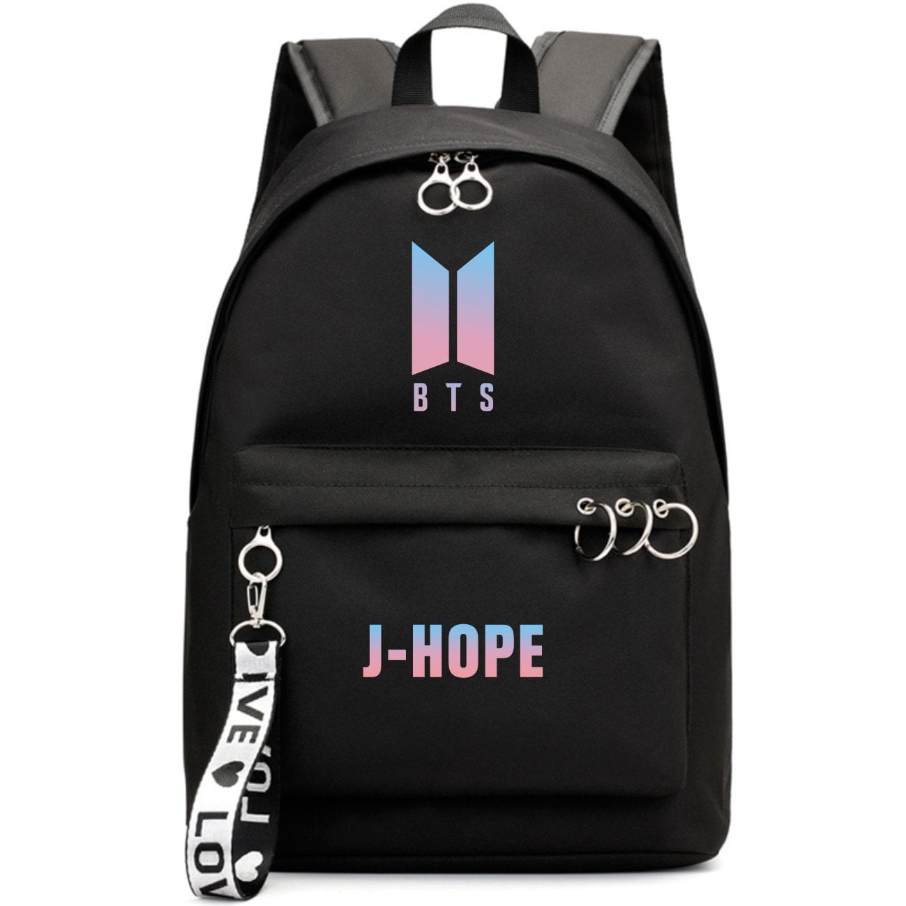 BTS New Logo Large Capacity Backpack / School Bag with Silver Rings in 2 Colours  583071224455#3925845045036