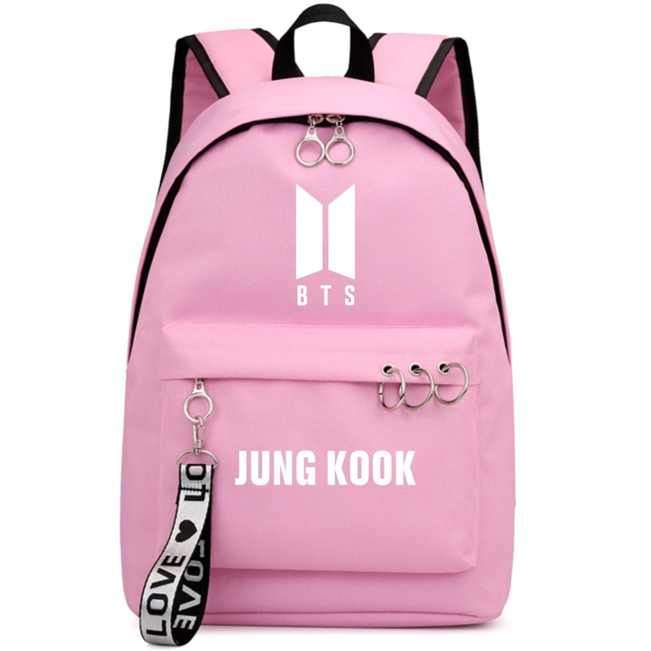 BTS New Logo Large Capacity Backpack / School Bag with Silver Rings in 2 Colours  583071224455#3925845045047