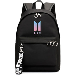 BTS New Logo Large Capacity Backpack / School Bag with Silver Rings in 2 Colours