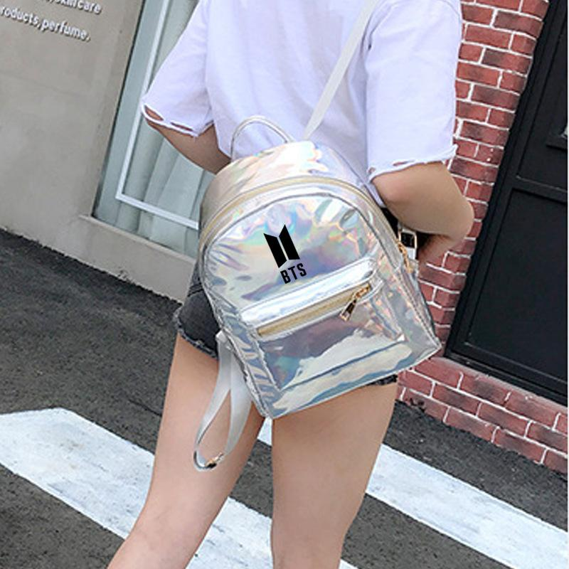 BTS Korean Style Reflective Laser Backpack / School Bag in 2 Colours and 3 Designs 582571304123#3915175557888