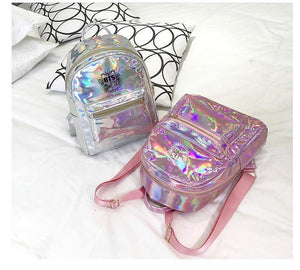 BTS Korean Style Reflective Laser Backpack / School Bag in 2 Colours and 3 Designs