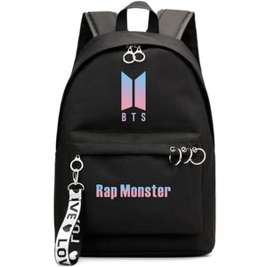 BTS New Logo Large Capacity Backpack / School Bag with Silver Rings in 2 Colours  583071224455#3925845045033
