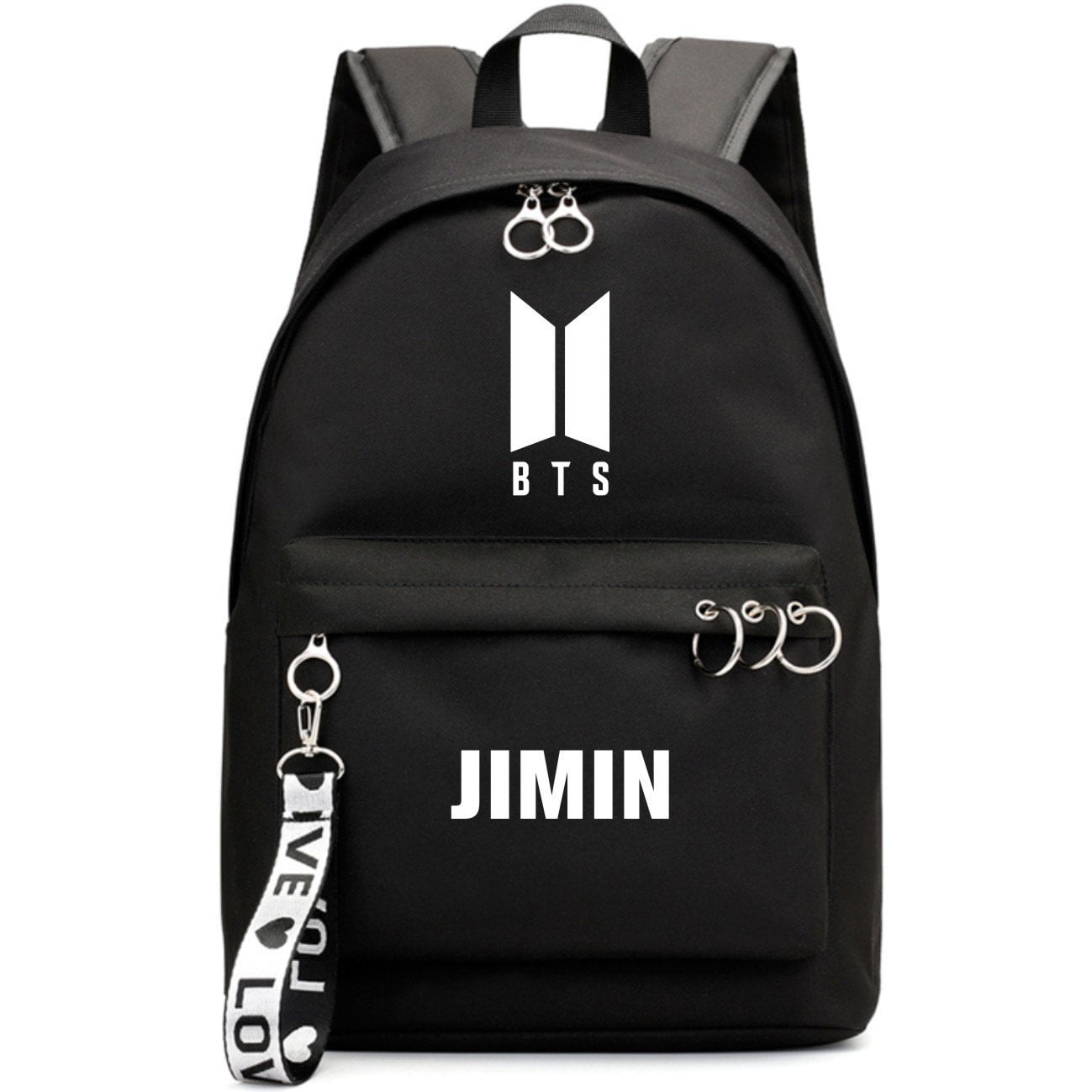 BTS New Logo Large Capacity Backpack / School Bag with Silver Rings in 2 Colours  583071224455#3925845045044