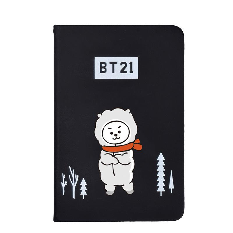 BTS BT21 Christmas Edition Characters Black Frosted Notebook with Bookmark 585417519671#3961693333825