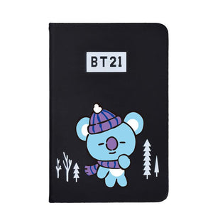 BTS BT21 Christmas Edition Characters Black Frosted Notebook with Bookmark 585417519671#3961693333823