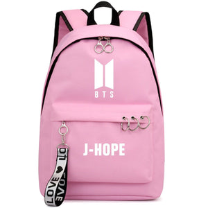 BTS New Logo Large Capacity Backpack / School Bag with Silver Rings in 2 Colours  583071224455#3925845045038
