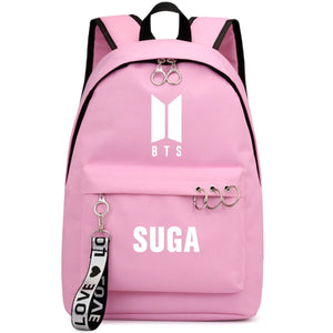 BTS New Logo Large Capacity Backpack / School Bag with Silver Rings in 2 Colours  583071224455#3925845045045