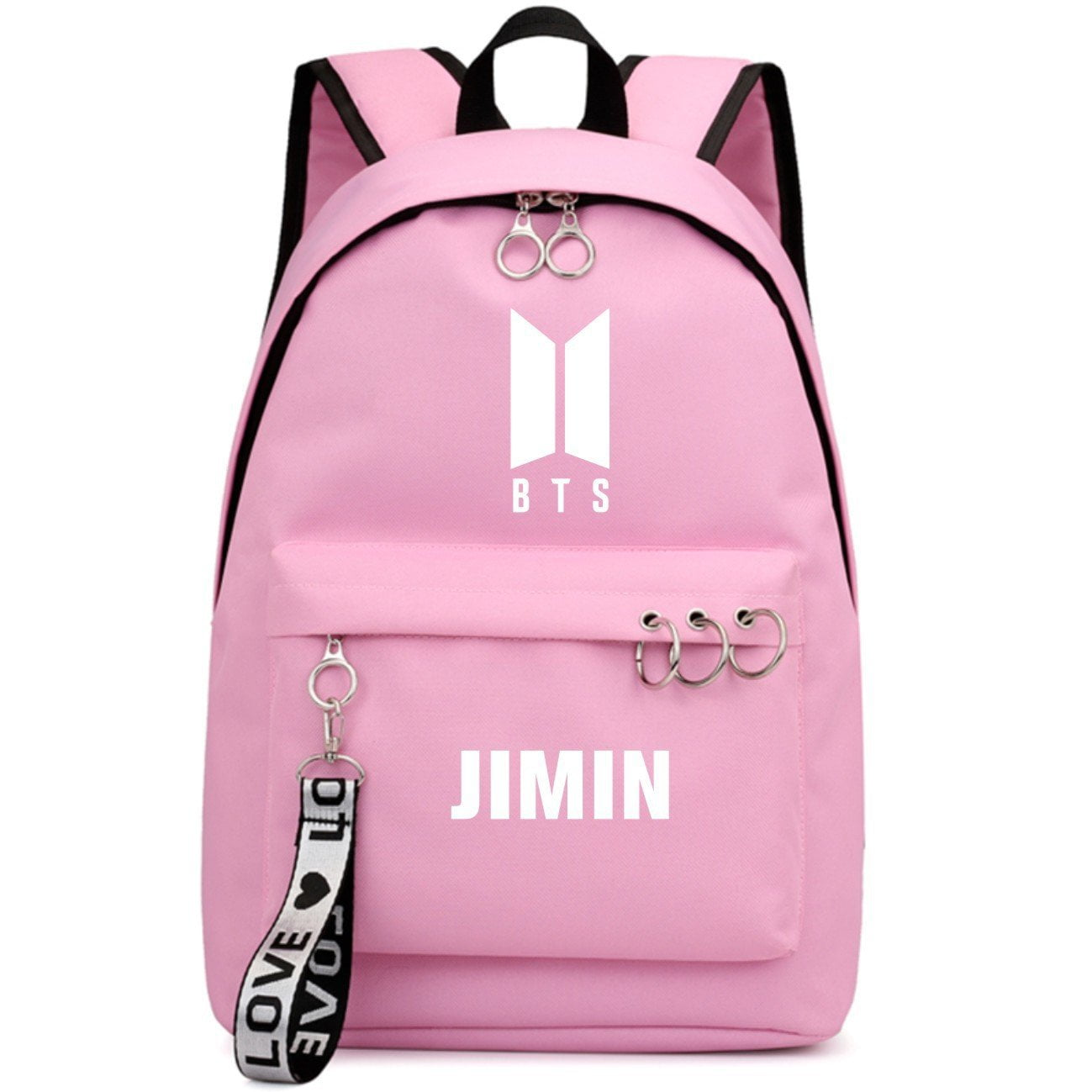 BTS New Logo Large Capacity Backpack / School Bag with Silver Rings in 2 Colours  583071224455#3925845045040