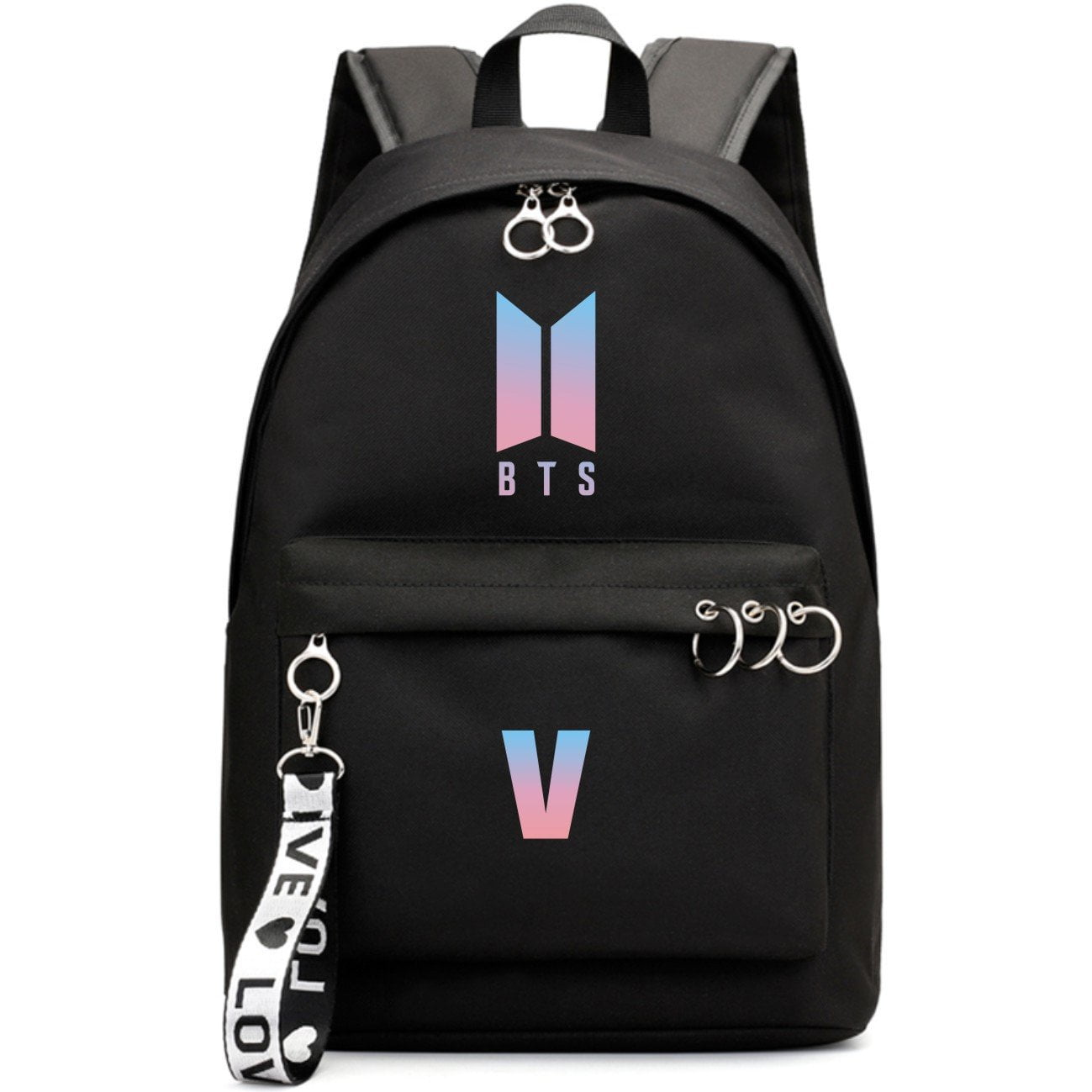 BTS New Logo Large Capacity Backpack / School Bag with Silver Rings in 2 Colours  583071224455#3925845045031