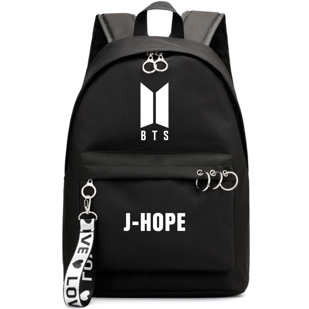 BTS New Logo Large Capacity Backpack / School Bag with Silver Rings in 2 Colours  583071224455#3925845045039