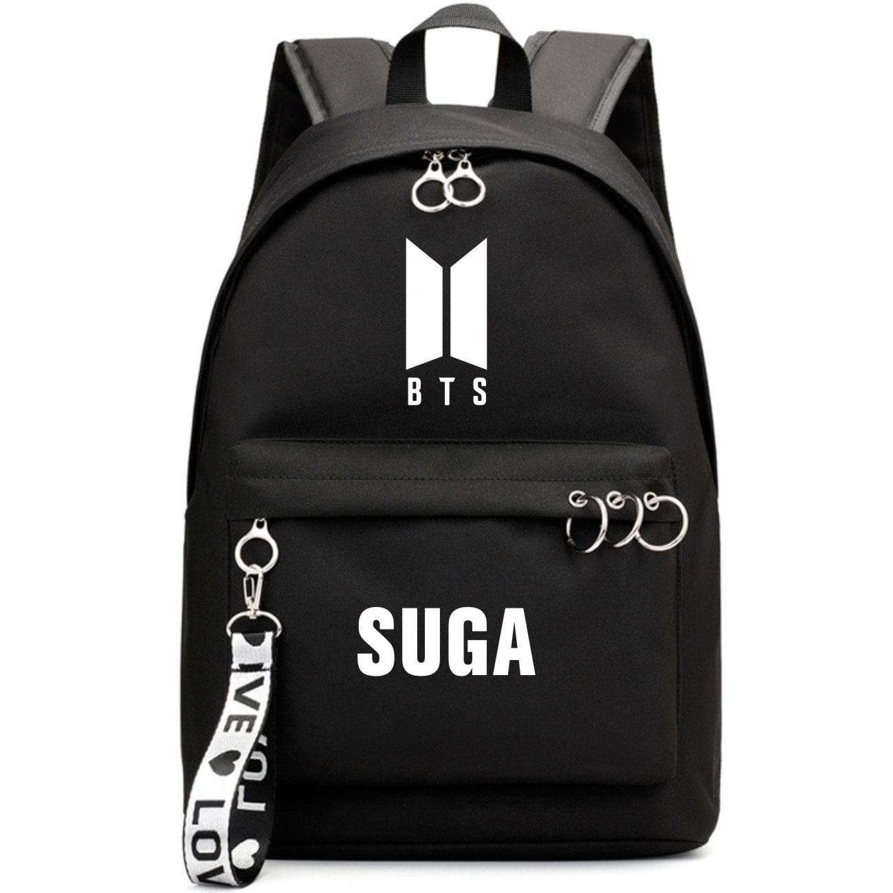 BTS New Logo Large Capacity Backpack / School Bag with Silver Rings in 2 Colours  583071224455#3925845045046