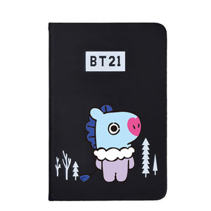 BTS BT21 Christmas Edition Characters Black Frosted Notebook with Bookmark 585417519671#3961693333824