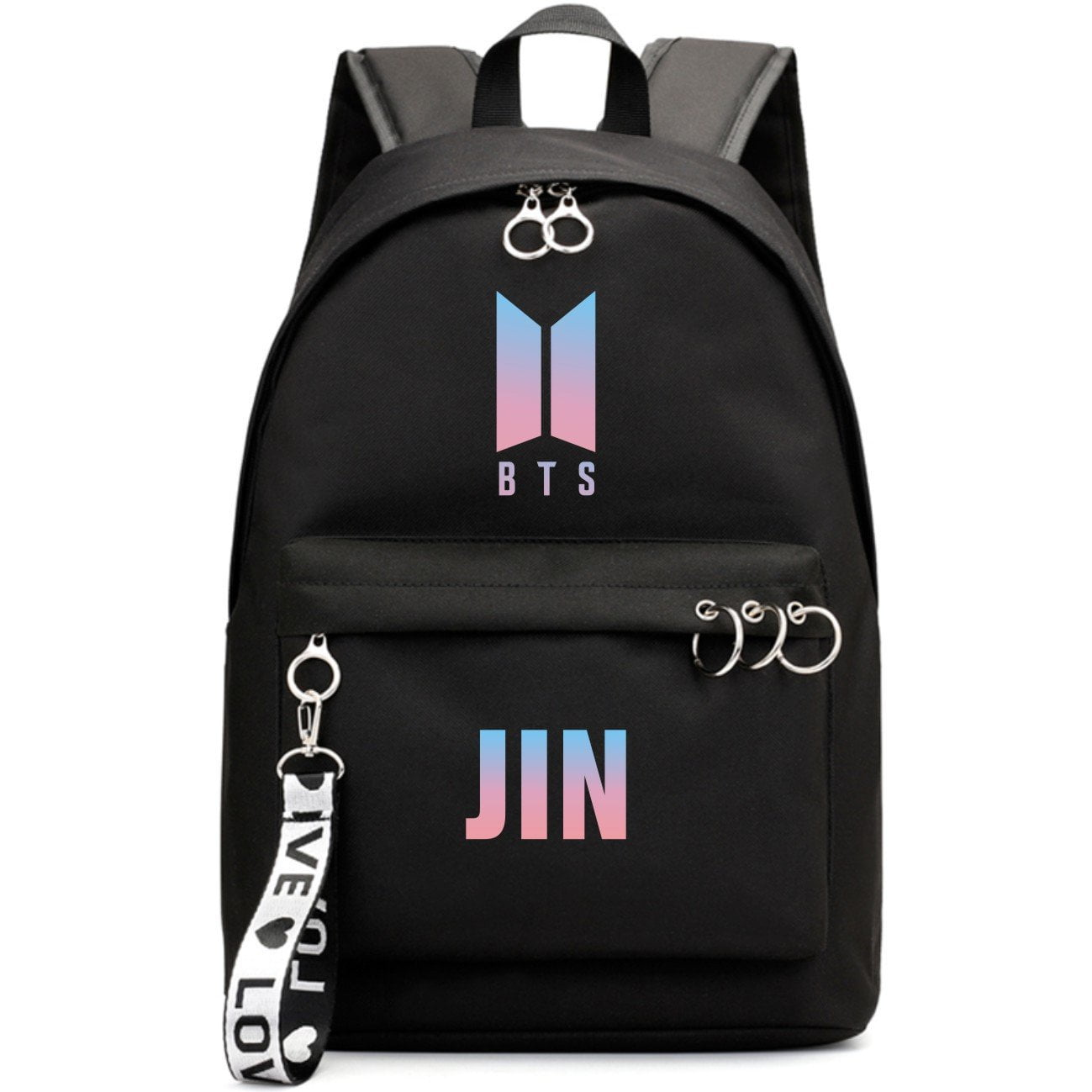 BTS New Logo Large Capacity Backpack / School Bag with Silver Rings in 2 Colours  583071224455#3925845045041