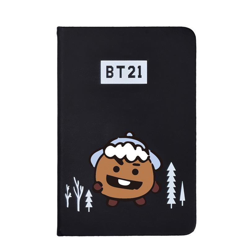 BTS BT21 Christmas Edition Characters Black Frosted Notebook with Bookmark 585417519671#3961693333826
