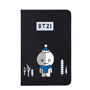 BTS BT21 Christmas Edition Characters Black Frosted Notebook with Bookmark 585417519671#3961693333828