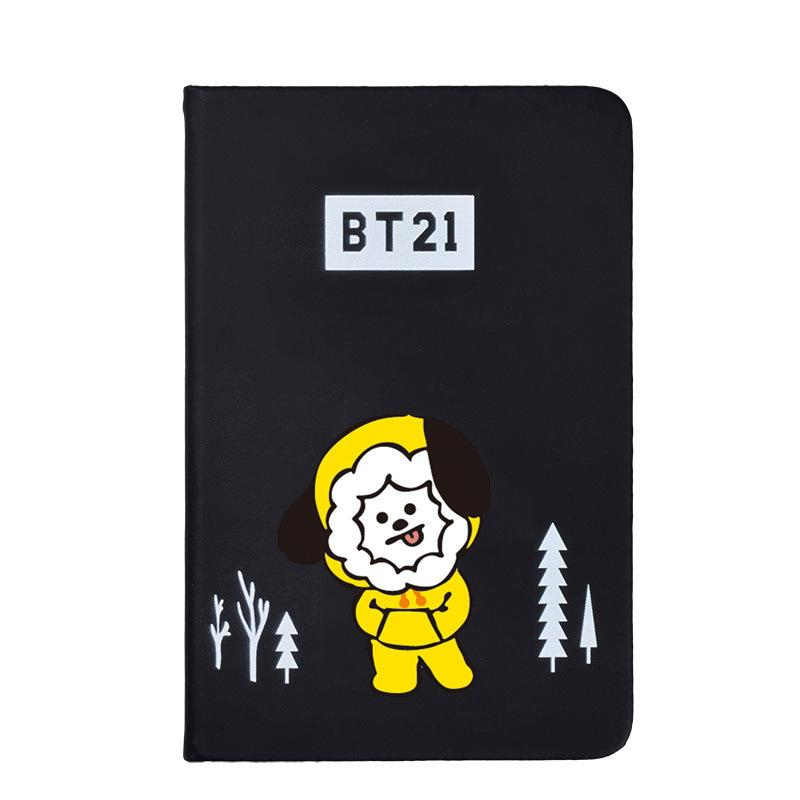 BTS BT21 Christmas Edition Characters Black Frosted Notebook with Bookmark 585417519671#3961693333821