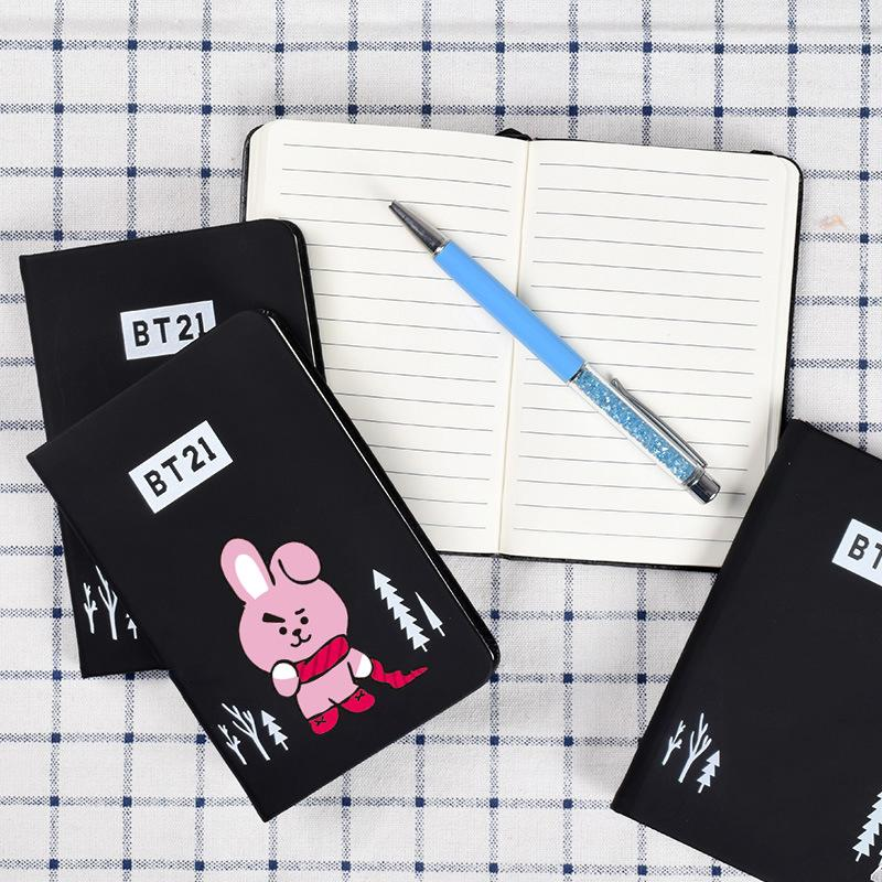 BTS BT21 Christmas Edition Characters Black Frosted Notebook with Bookmark