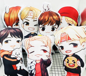 BTS Cartoon-Inspired Members 40CM Humanoid Shaped Pillow / Cushion