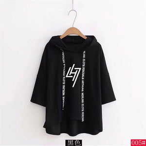 EXO Luhan LH7 Restart Logo Korean Style Loose Cut Short Sleeve Hoodie 3 Colours 574351559149#3753340320009 574351559149#3753340320008 574351559149#3753340320010 574351559149#3753340320007 574351559149#3753340320006