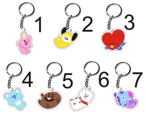 BTS BT21 Cute Playful Cartoon Acrylic Keychain and Phone Ring