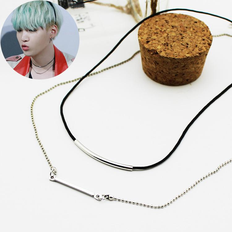 BTS Suga Curved Arc Pair Chain Necklace