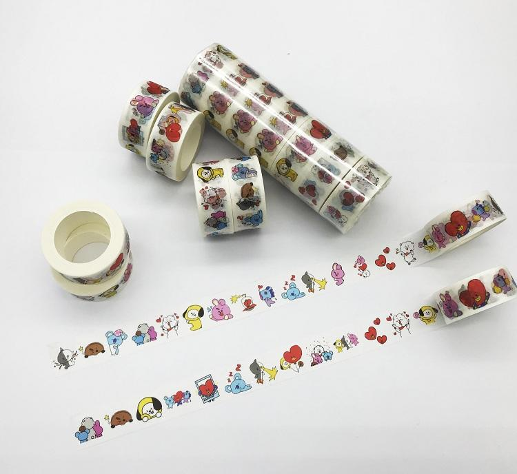 BTS BT21 Cute Washi Tapes DIY Photo Stickers for Scrapbook