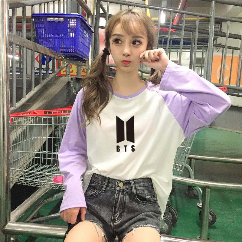 BTS Coloured Long Sleeve T-shirt with Logo  575810156915#3955446963354 575810156915#3955446963355 575810156915#3955446963352 575810156915#3955446963353