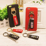 iKON Red Reflective Colourful Laser Name Strip Keychain Lanyard (w/ Sticky Hook)